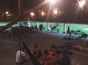 Setting up camp our first night in Illinois under a pavilion!