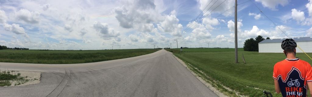 A massive wind farm in Illinois. This was the most exciting scenery of our ride that day.