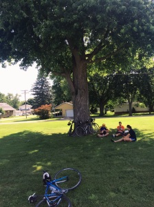 Joe, Jen and Kristen kicking it under a tree at a rest stop.