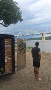 Joe admiring the Illinois River next to the trailer.