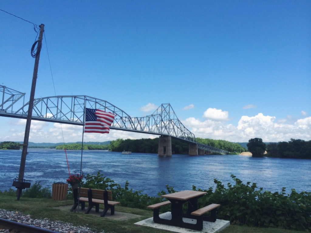 An American flag flying over the Mississippi in Lansing, Iowa. I'll never take a picture dripping with this much patriotism.