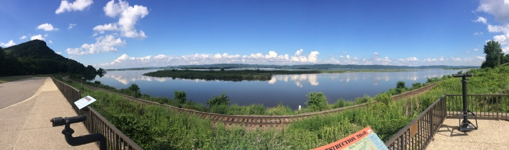 A view over the mighty Mississippi in Minnesota. The horizon line you see is Wisconsin!