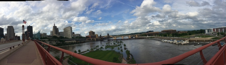 From a bridge in Saint Paul. Underneath it was a public park totally flooded.