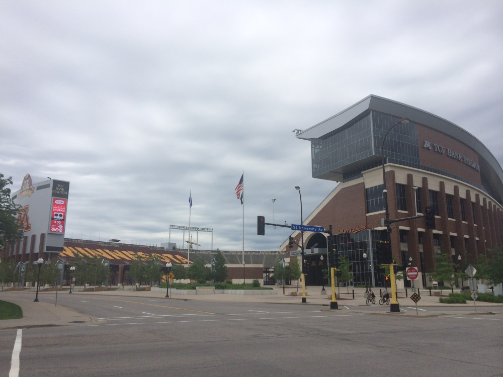 I wandered off to the Golden Gophers' stadium, but couldn't sneak my way inside.