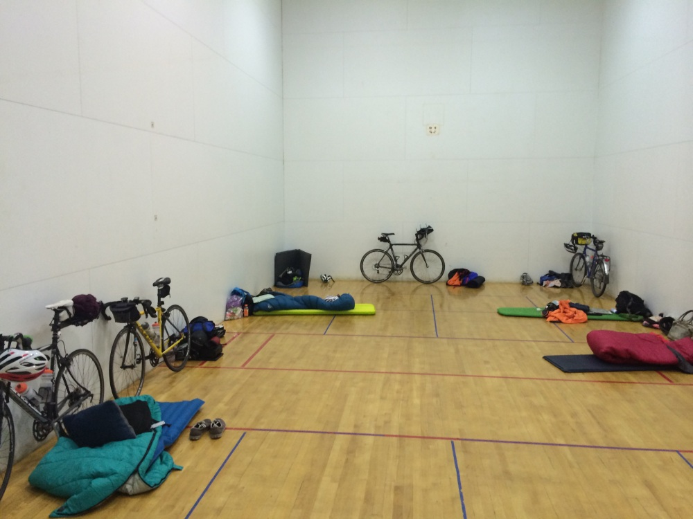 Racquetball court turned bike garage