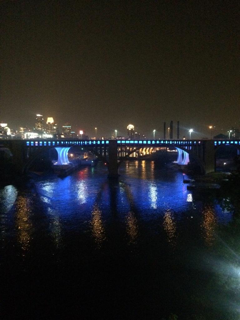 A beautifully lit bridge in MInneapolis.