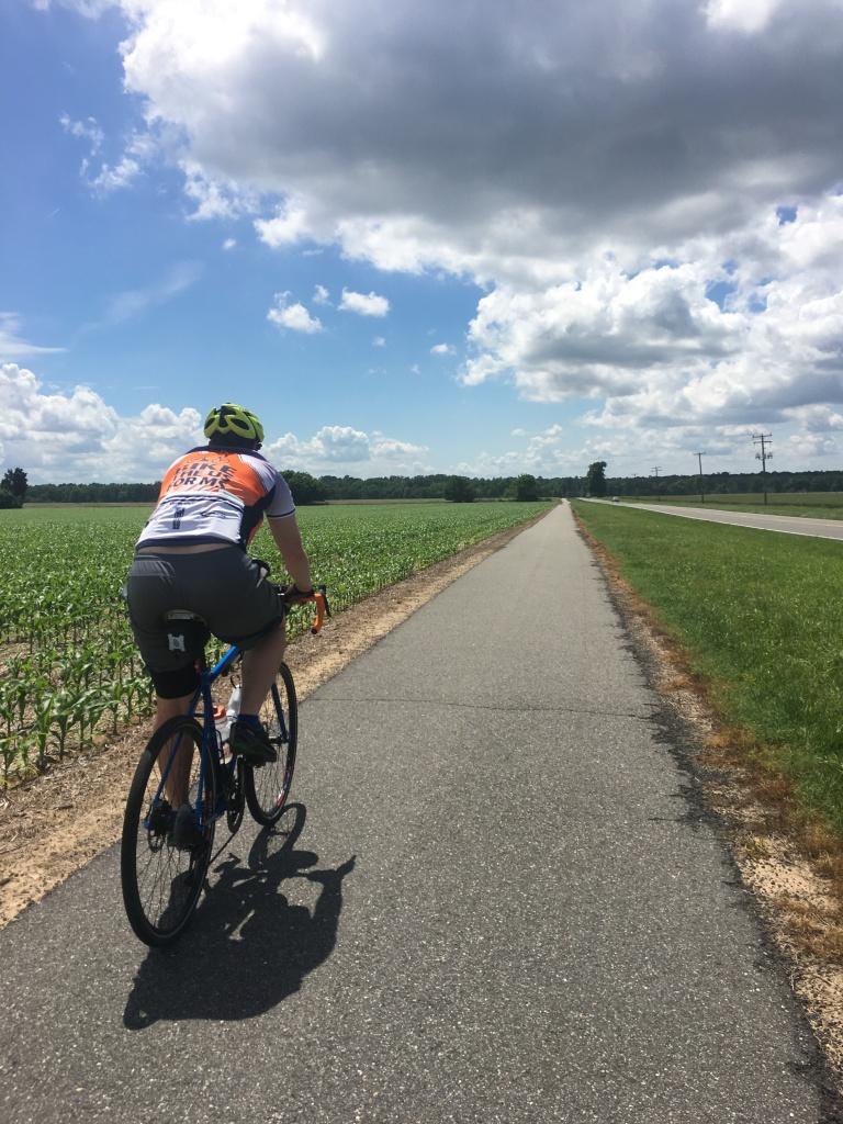 Zach cruising down the Capital City trail on day 1 on his freeeesh new Vaya