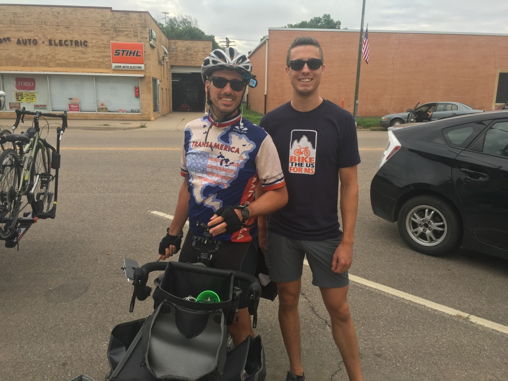 This is Mike Risisca, who's become a bit of a legend along the TransAm. He's been a few days ahead of us all summer, and his signature robot sticker is everywhere: on street signs, in bathrooms, in bike shops. I finally found and met him in Larned, KS and he's as nice as his little robot logo is awesome. We're hoping to tag up with him again in Pueblo, CO in a few days.