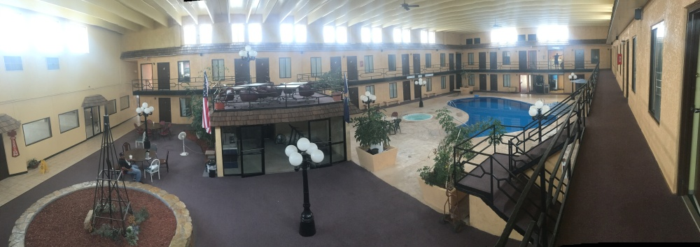 The hotel from which I'm writing this. I've never seen a motel with an indoor atrium/pool/jacuzzi, but I really dig it.