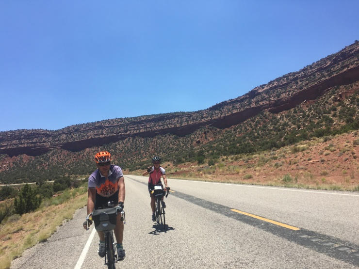 Adam and Shanon ripping along some buttes.